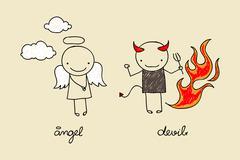 Cute angel and devil doodle - stock illustration