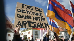FRANCE - APR 8, 2016:Armenian protesters in front of Azerbaijan Embassy Stock Footage