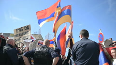 Stock Video Footage of FRANCE - APR 8, 2016:Armenian protesters in front of Azerbaijan Embassy