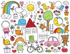 Children's doodle - stock illustration