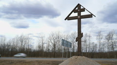 Orthodox cross was installed near the road Stock Footage