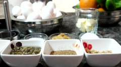 Products in the kitchen to prepare a delicious dinner of culinary delights. - stock footage