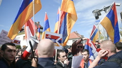 FRANCE - APR 8, 2016:Azerbaijan Armenia conflict protest Stock Footage