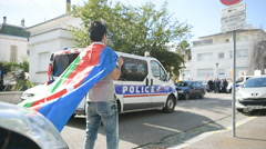 FRANCE - APR 8, 2016:Azerbaijan diaspora protecting the Azerbaijan Embassy Stock Footage
