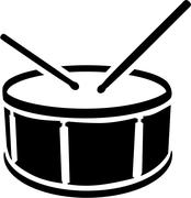 Drum symbol with sticks - stock illustration
