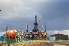 INVERNESS SCOTLAND – 07 April 2016: Semi Submersible Oil Rig in Shipyard Stock Photos