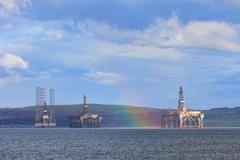 Semi Submersible Oil Rig with rainbow after Raining at Cromarty Firth in Inve Stock Photos