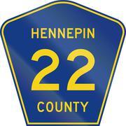 Minnesota county-designated highway shield - Hennepin County - stock illustration