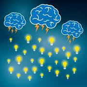 Brainstorm idea creative brain and lightning. Stock Illustration