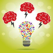 Brainstorm idea creative brain, lightning and lamp. Stock Illustration