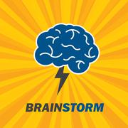 Brainstorm idea creative brain and lightning. Stock Illustration