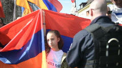 FRANCE - APR 8, 2016:Armenian protesters in front of Azerbaijan Embassy - stock footage