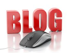 3D word blog with pc mouse - stock illustration