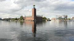 City Hall Building Stockholm Sweden Stock Footage