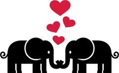 Elephants in love Stock Illustration