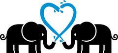 Loving Elephants with water Stock Illustration