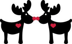 Comic elk in love Stock Illustration
