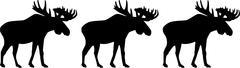 Three moose elk - stock illustration