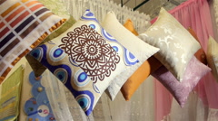 Multi-colored Pillows in the Store - stock footage