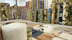 Large Selection of Carpets in Store Stock Footage