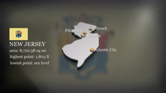 3D animated Map of New Jersey Stock Footage