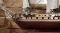 Museum exhibit a small wooden ship sails imperial times - stock footage
