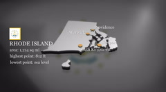 3D animated Map of Rhode Island Stock Footage