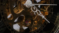 Old clock mechanism. Close up Stock Footage