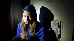 Sad teen girl near thinking about something. 4K UHD - stock footage