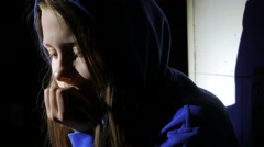 Sad teen girl near thinking about something. Close up. 4K UHD - stock footage