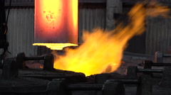 Grasping the deficient burning in the fire of the workpiece  Stock Footage