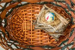 Stock Photo of The Colorful Egg in Basket