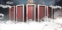 Composite image of server towers - stock illustration
