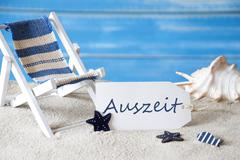 Summer Holiday Label With Deck Chair, Auszeit Mean Downtime Stock Photos