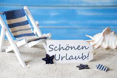 Summer Label With Deck Chair, Urlabu Mean Holiday - stock photo