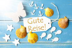 Sunny Summer Greeting Card With Gute Reise Means Good Trip Stock Photos