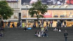 People at Sergel's Square - Stockholm Sweden Stock Footage