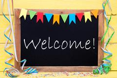 Chalkboard With Party Decoration, Text Welcome - stock photo