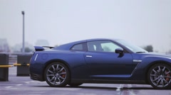 View of dark blue new coupe car. Wheels disks. Presentation. Showing. Luxury - stock footage