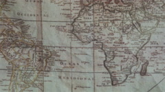 Ancient map of the world fabric sewn to the cloth in the trunk navigator beam Stock Footage