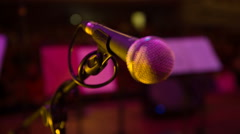 Microphone in concert hall Stock Footage