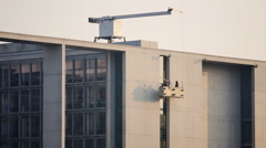 Window cleaners at the Bundestag Berlin Stock Footage