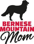 Bernese mountain Mom with dog silhouette Stock Illustration