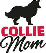 Collie Mom with dog silhouette Stock Illustration