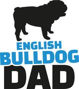 English bulldog dad with dog silhouette Stock Illustration