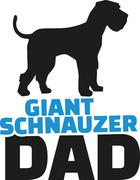 Giant Schnauzer dad with dog silhouette Stock Illustration