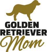Golden retriever Mom with dog silhouette Stock Illustration