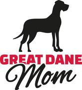 Great dane Mom with dog silhouette - stock illustration