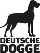 Great dane with breed name deutsche dogge Stock Illustration