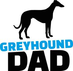 Greyhound dad with dog silhouette Stock Illustration